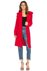Norma Kamali Double Breasted Bonded Trench Red