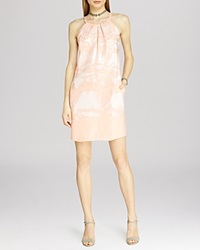 Halston Heritage Sleeveless Sequin Feather Print Dress Glow Feather Allover Print