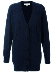 Stella Mccartney Distressed Cable Knit Cardigan Blue