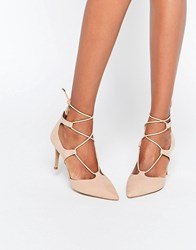 Head Over Heels By Dune Calista Nude Tie Up Heeled Shoes Nude Beige