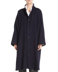 Eskandar Stand Collar Button Front Long Imperial Cashmere Coat Navy
