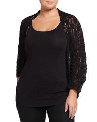 Alberto Makali Short Sleeve Crocheted Cocoon Cardigan Black