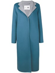 Manzoni 24 Midi Buttoned Coat Women Cashmere Wool 44 Blue