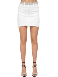 Alexandre Vauthier Crystal Embellished Cotton Denim Skirt White
