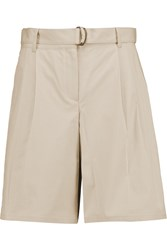 Theory Seltha Belted Stretch Cotton Poplin Shorts Nude