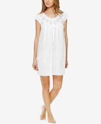 Eileen West Lace Trimmed Pintucked Short Nightgown Winter White