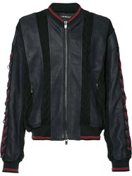 Y Project Panelled Bomber Jacket Men Cotton Calf Leather Acetate 46 Blue
