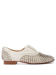 Christian Louboutin Freddy Spike Embellished Leather Oxford Shoes White