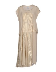 Uniqueness Dresses Knee Length Dresses Women Beige