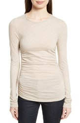 Theory Women's Plume Ruched Jersey Tee Light Fawn Heather