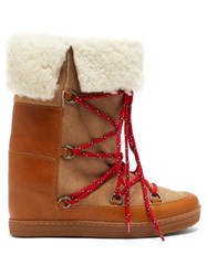 Isabel Marant Nowly Shearling And Leather Boots Tan Multi