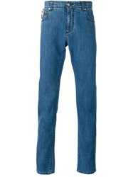 Isaia Paisley Lined Skinny Jeans Men Cotton 50 Blue