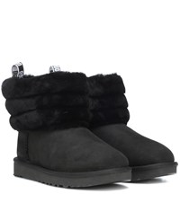 Ugg Fluff Mini Quilted Suede Ankle Boots Black