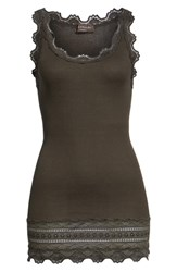 Rosemunde Silk And Cotton Rib Knit Tank Dark Forest