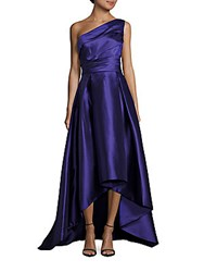 Monique Lhuillier One Shoulder Organza Gown Deep Purple