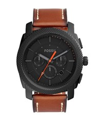 Fossil Machine Stainless Steel And Leather Strap Watch Brown