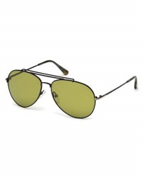 Tom Ford Metal Doubled Brow Aviator Sunglasses Black C60