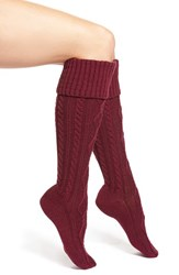 Women's Free People Cable Knit Knee High Socks Burgundy Berry