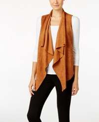 Catherine Malandrino Powell Draped Faux Suede Vest Autumn Moth Brown