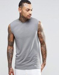 Asos Muscle Sleeveless T Shirt In Grey Grey