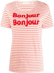 Chinti And Parker Bonjour T Shirt Pink