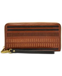 Fossil Emma Rfid Large Zip Clutch Wallet Brown Multi