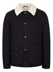 Topman Blue Indigo Faux Shearling Lined Denim Shacket