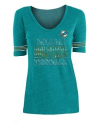 5Th And Ocean Miami Dolphins Tri Blend Foil Sleeve Stripe T Shirt Aqua