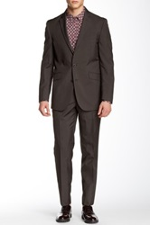 Kenneth Cole Reaction Brown Pinstripe Two Button Peak Lapel Suit