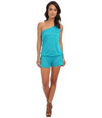 Vitamin A Swimwear Lola One Shoulder Romper Cover Up Aruba Shantung Women's Jumpsuit And Rompers One Piece Green
