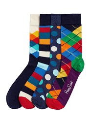 Happy Socks Mix Pattern 4 Pair Gift Box Multi Colour