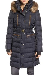 Vince Camuto Women's Quilted Coat With Faux Fur Trim