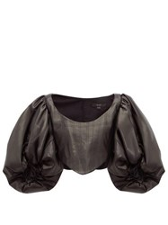 Ellery Sister Morphine Balloon Sleeve Faux Leather Top Black