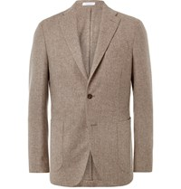 Boglioli Oatmeal Slim Fit Wool And Cashmere Blend Blazer Brown