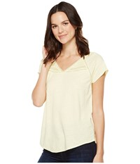 Nydj Lace Trim Knit Top Soleil Women's Clothing Yellow
