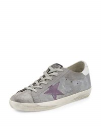 Golden Goose Superstar Embroidered Low Top Sneaker Ash Gray
