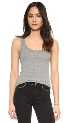 Enza Costa Ribbed Baseball Tank Heather Grey