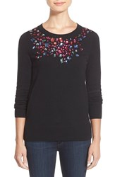 Petite Women's Halogen Embellished Crewneck Sweater Black Multi Gem Pattern