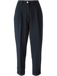 Versace Collection Cropped Pleated Trousers Blue
