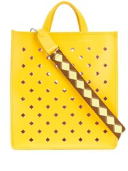 Coccinelle Perforated Tote Bag Yellow