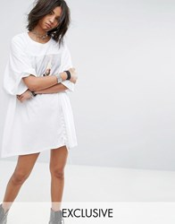 Milk It Vintage Oversize T Shirt Dress With Lace Up White