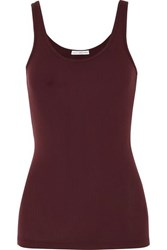 James Perse The Daily Ribbed Stretch Supima Cotton Jersey Tank Burgundy