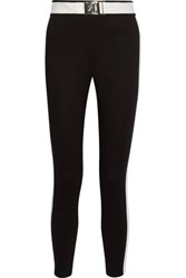 Versace Jeans Two Tone Faux Leather Trimmed Ponte Leggings Black