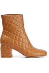 Gianvito Rossi Quilted Leather Ankle Boots Tan