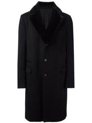 Salvatore Ferragamo Fur Lapel Coat Black