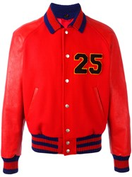 Gucci Web Collar Bomber Jacket Red