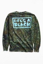 Life's A Beach Logo Dyed Long Sleeve Tee Green