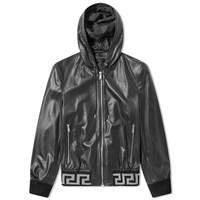 Versace Hooded Greek Rib Leather Jacket Black