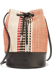 Sandro Woven Straw And Leather Bucket Bag Orange