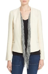 Women's Foundrae Leather Trim Cotton Jacket With Removable Fringe Silk Vest